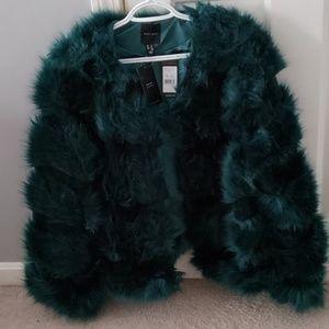 Faux fur green jacket